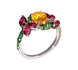 Оригинальное кольцо из белого золота с турмалинами, цаворитами и сапфиром